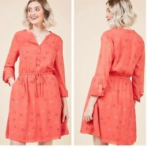 ModCloth coral wishbone print dress size small